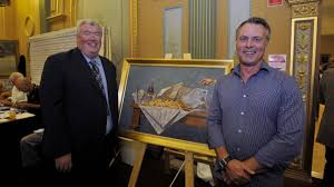 artist has winning recipe bendigo advertiser winner darren crothers right bendigo advertiser editor rod case picture