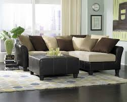 Of Living Rooms With Black Leather Furniture Standing Lamp Window Glass Soft Brown Fabric Riclining Sofa