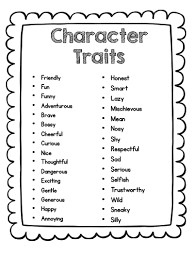 character traits clipartfest list of character traits