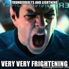 Thunderbolts and lightning Very very frightening - Spock screaming ... via Relatably.com