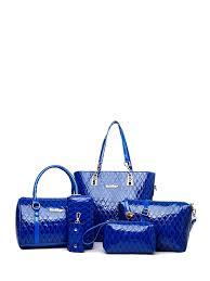 Buy <b>6Pcs Women's Bag Set</b> Shiny Smooth PU Leather Classy Bag ...