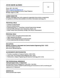 sample resume format for fresh graduates one page sample single gallery of standard resume objective