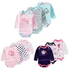 <b>3Pcs Baby</b> Girl Long Sleeve Onesies <b>Newborn</b> Romper Jumpsuit ...