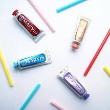 Cute shot of <b>travel</b> size <b>Marvis toothpaste flavour</b> a Cinnamon Mint ...