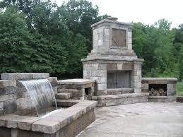 outdoor fireplace paver patio: hilliard outdoor fireplace and waterfall hilliard paver patio contractor