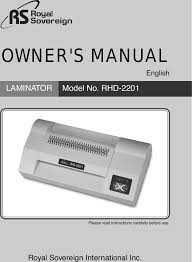 <b>Royal Sovereign Rhd 2201</b> Users Manual Manual(US)