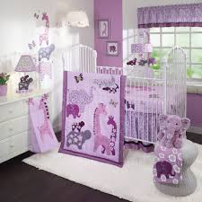 attractive design purple baby pink and green baby room cream polished wooden crib using baby room color ideas design