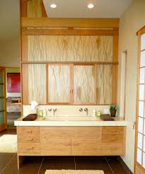 arts crafts bathroom vanity:  vanity double sink bathroom contemporary with bamboo cabinetry bamboo cabinets