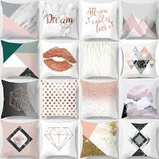 <b>Nordic</b> Modern Minimalist Geometric <b>Pink Marble</b> Peach Pillow ...