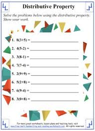 Distributive Property:Math Worksheets