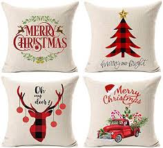 Kithomer Set of 4 Christmas Pillow Covers Buffalo ... - Amazon.com