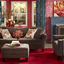 decor red blue room full: living room decor items with floral print pink wallpaper and grey fabric loveseat on red