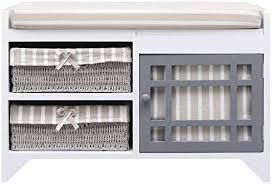 vidaXL <b>Solid Paulownia</b> Wood Hall <b>Bench Storage</b> Trestle Seat ...