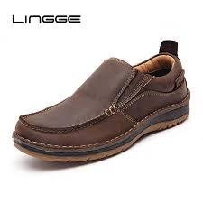 <b>LINGGE</b> New 2019 <b>Men</b> Casual <b>Shoes</b> Genuine Leather Summer ...