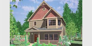 Victorian House Plans  Narrow Lot House Plans  House Plans  House front color elevation view for Victorian house plans  Narrow Lot House Plans