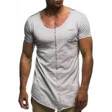 Men Solid Color Round Neck Pocket Stitching Fringe Casual Short ...