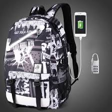 Online Shop <b>Brand Men</b> Luminous Backpacks USB Charge ...