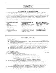 sample technical project manager resume experience resumes sample technical project manager resume