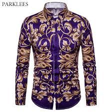 <b>Men</b> Shirt <b>Social</b> Club Shirt 2018 <b>Autumn New</b> Luxury Baroque ...
