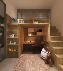 living room with bed: image by gapartners corner loft bed kids contemporary with bed with desk underneath