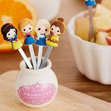 <b>Fruit</b> Fork Set Volwco <b>6pcs</b> Fairy Princess <b>Silicone</b> Handle Stainless ...