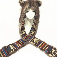 <b>2016 new</b> winter unisex thick warm faux <b>fox</b> fur cartoon hats <b>scarf</b> ...