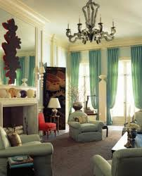 furniture living room sage green set luxurious chandelier  modern blue color curtain beautifies your window