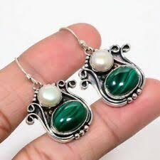 Малахит серебро малахит модные серьги | eBay
