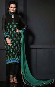 green black mesmerizing: picture of mesmerizing black and sea green color churidar kameez