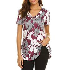 SOLERSUN Womens Long Sleeve <b>Cowl Neck Button</b> Floral Printed ...