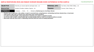 resume outline for trades templates sles pinterest guidelines on    reinforcing iron and rebar worker resume sample   iron worker resume