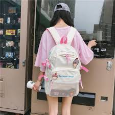 <b>Kawaii Ice Cream</b> Badge Backpack Women Bookbag Large ...
