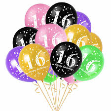<b>10pcs</b> 16th Birthday Printed Latex Balloons Party Decorations ...