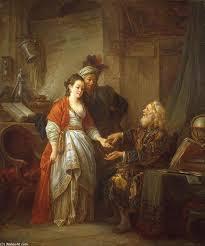 La diseuse de bonne aventure, huile sur toile de Jean Baptiste Le ... - Jean-Baptiste-Le-Prince-The-Fortune-Teller