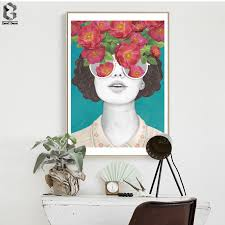 <b>ZeroC</b> Nordic <b>Posters And Prints</b> Flower Girl Portrait Wall Art Canvas ...