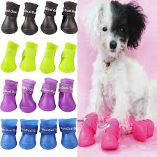 4x <b>Cute Pet Dog</b> Waterproof Boots Protective Rubber Rain Shoes ...