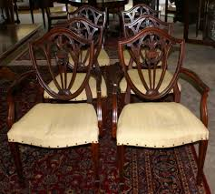 hepplewhite shield dining chairs set: height   quot depth   quot arm quot side width   quot arm quot side very nice set of hepplewhite plume carved shield back dining room chairs with