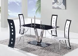 Black And White Kitchen Table Black And White Dining Table With Contemporary Armless Black Chair