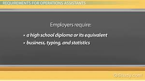 operations assistant job description requirements