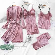 2019 Spring <b>Gold Velvet 4 Pieces</b> Warm Winter Pajamas Sets ...