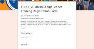 <b>YES</b>! <b>LIVE</b> Online Adult Leader Training Registration Form