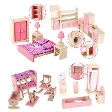 new 187 on sale wooden dollhouse furniture set bathroom kid room bedroom kitchen set affordable dollhouse furniture