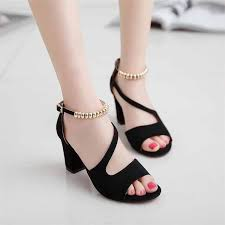2019 Hot spring sexy fish mouth <b>hollow Roman sandals</b> thick with a ...