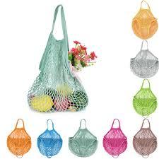 Portable <b>Durable Mesh</b> Net <b>Shopping Bag</b> Fruit Goods Storage ...