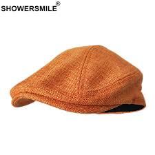 <b>SHOWERSMILE Berets Caps For</b> Women Orange Cotton Linen Flat ...