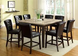Dining Room Set Counter Height Pc Lisbon Ii Dark Walnut Finish Wood Contemporary Style Counter