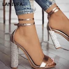 new <b>Women</b> Heeled Sandals Bandage Rhinestone Ankle Strap ...