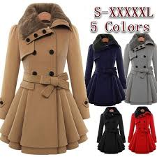 Womens <b>New Style Vintage</b> Woolen Coat Slim Trench Coats Lady ...