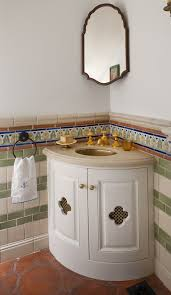 corner vanity sink cabinet mirror corner vanity sink powder room mediterranean with accent tile bath acc