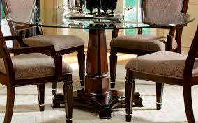 block dining table gray dining room single brown wooden leg with round glass counter top combi